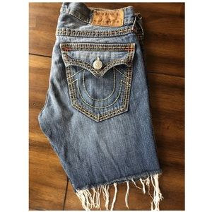 True Religion Cut Off Thick Stitch Jeans 36